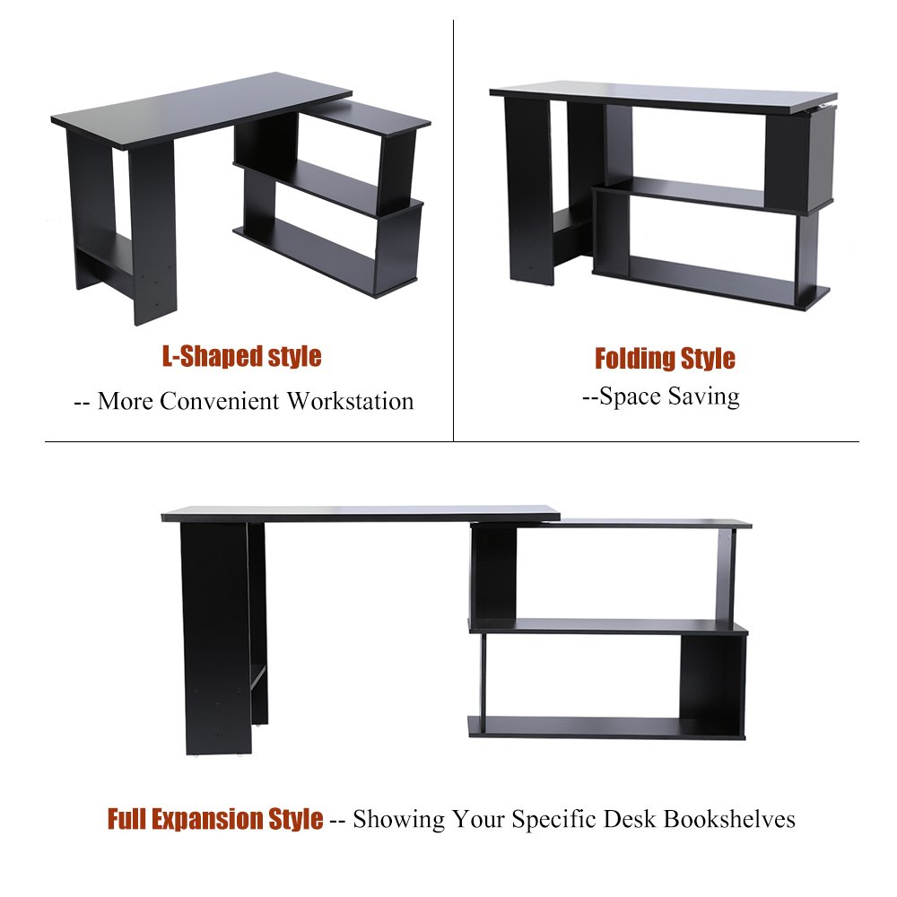 lyrlody L-Shaped Desk,Folding Computer Desk Corner PC Laptop Table with 2 Storage Shelves Study Table Workstation Gaming Desk with 360-Degree Rotation for Home Office Study Writing Black