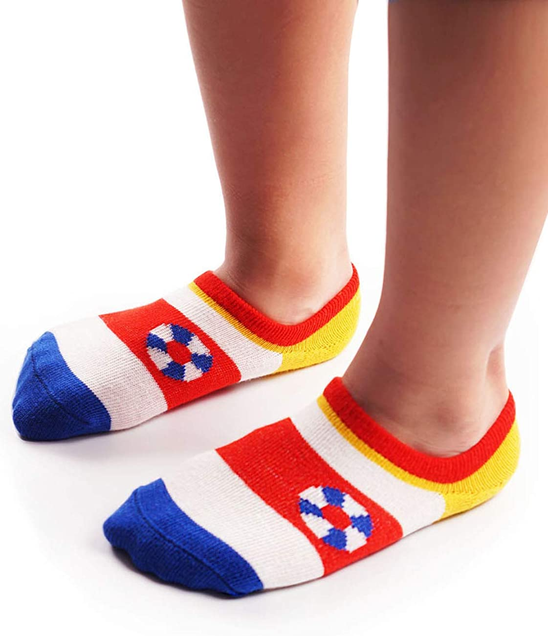 Age 1 to 3 Boys Kids 3 Pairs Cotton Rich Non-slip Colourful Striped Ankle Calf Socks Ankle Socks Non-slip