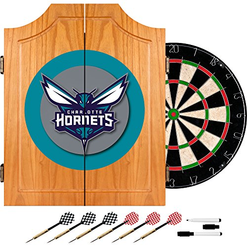 NBA Charlotte Hornets Wood Dart Cabinet Set by Trademark Global