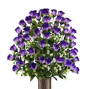 Purple Sweetheart Rose Artificial Bouquet, featuring the Stay-In-The-Vase Design(c) Flower Holder (LG2170) 34