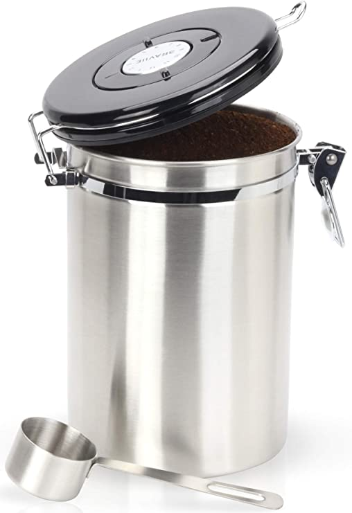Coffee Canister - Gorgeous Stainless Steel Storage Container with Scoop - Keeps Your Coffee Airtight Fresh and Flavorful, 22oz