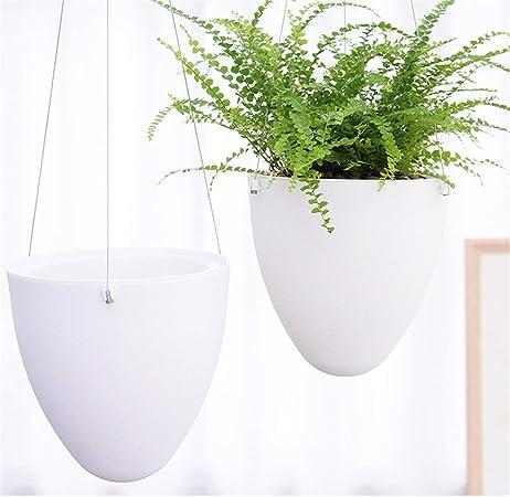 Macetas colgantes de 2 unidades de macetero para techo de jardín, balcón, colgantes, cesta, tendedero de cuerda, para plantas, paredes colgantes, etc., plástico, blanco, Set of 2: Amazon.es: Hogar