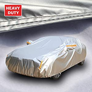Tecoom Heavy Duty Multiple Layers Car Cover All Weather Waterproof Windproof Reflective Snow Sun Rain UV Protective Outdoor with Buckles and Belt Fit 191-200 inches Sedan