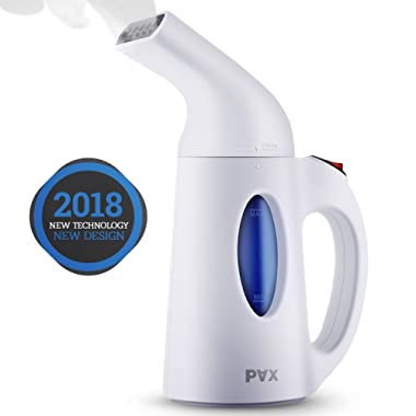 PAX Handheld 2018, Powerful Clothes 7-in-1 Garment/Fabric Steamer. Wrinkle Remover, Steam/Soften/Clean/Sanitize/Sterilize with 60 Sec Heat-Up. Perfect for Home and Travel, Small, White