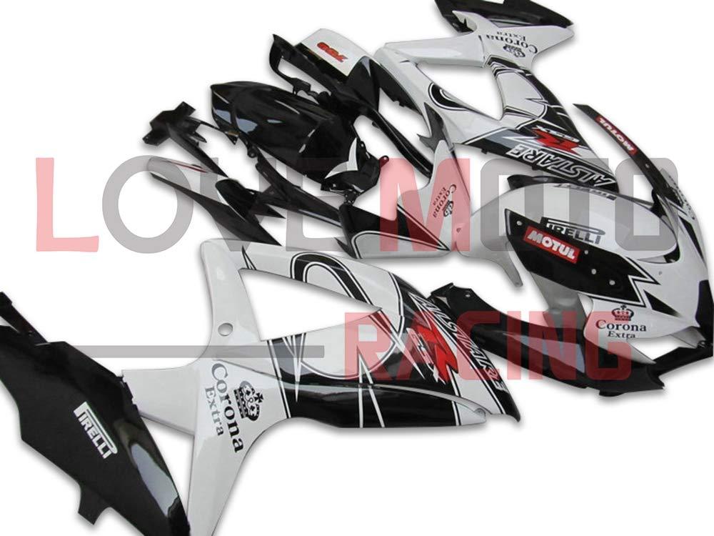 LoveMoto ブルー/イエローフェアリング スズキ suzuki GSX-R600 GSX-R750 K8 2008 2009 2010 08 09 10 GSXR 600 750 ABS射出成型プラスチックオートバイフェアリングセットのキット ブラック ホワイト   B07KG4DS7N