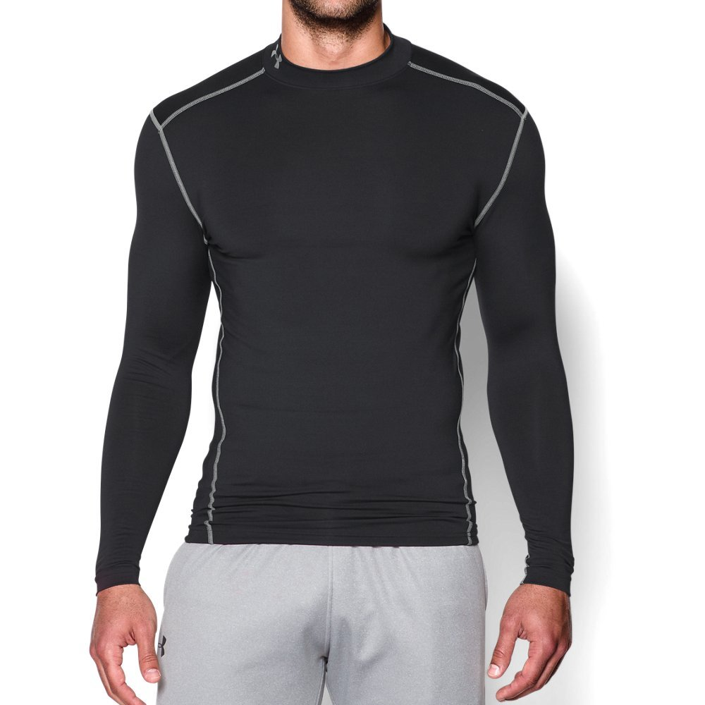 Under Armour Men's ColdGear Armour Compression Mock Long Sleeve Shirt, Black (001)/Steel, Small