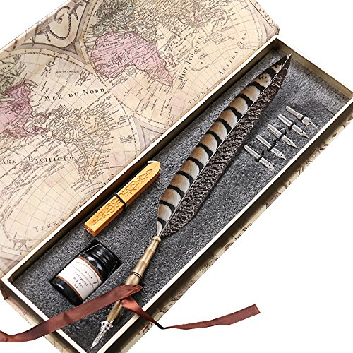 Old pens amazon antique feather copper pen stem metal nibbed pen writing quill ll 14 altavistaventures Images