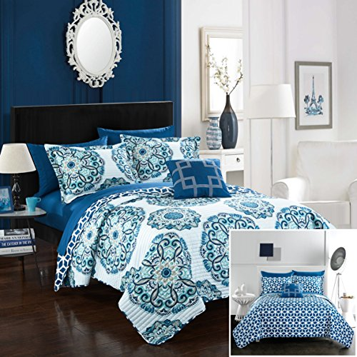 Chic Home Madrid 4 Piece Quilt Set Reversible Geometric Medallion Pattern Print, Full/Queen Blue (Blue Quilt Sets)