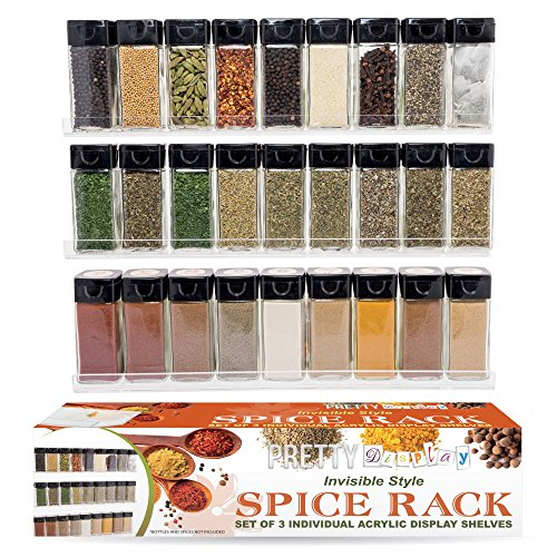 The 'Invisible' Acrylic Spice Rack. Strong, Sturdy, 3 Tiered Crystal-Clear Floating Shelves (15 x 2 inch) Three Shelf Set - Easy to Wall Mount - 3 Shelf Set Cabinet