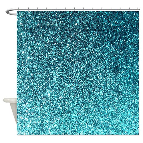 CafePress - Teal Faux Glitter Texture Shower Curtain (Matte) - Decorative Fabric Shower Curtain
