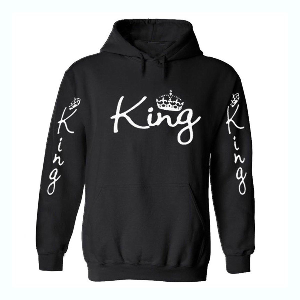 testMen Women Hoodies Sweatshirts Casual Long Sleeve King Printing Hooded Sweater Loose Tops Shirt for Autumn Winter Size M