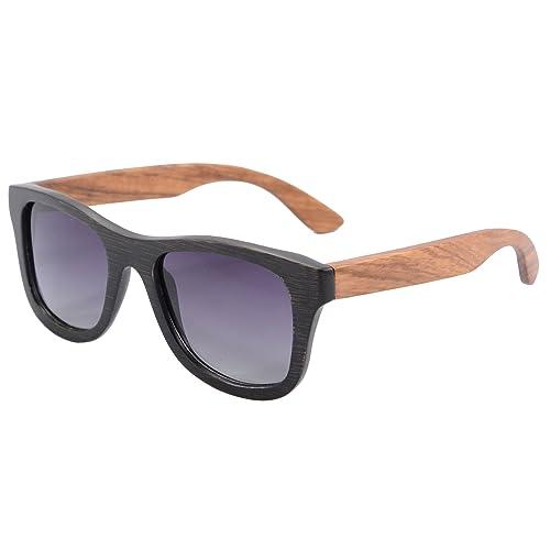 SHINU Polarizadas Gafas de Madera de Bambú Gafas de Sol Lentes de Madera Vintage y Espejos