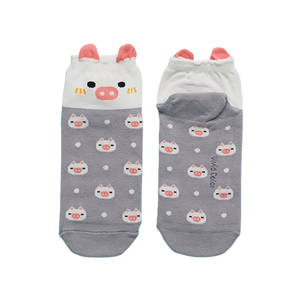 Piggy Grey Girls One Size Super Soft Cotton Blend Stretch Crew Socks