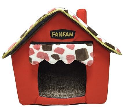 Icegrey Casa para Perros y Gatos Acolchada Plegable Caseta Cama para Mascotas 47x43x45cm Rojo