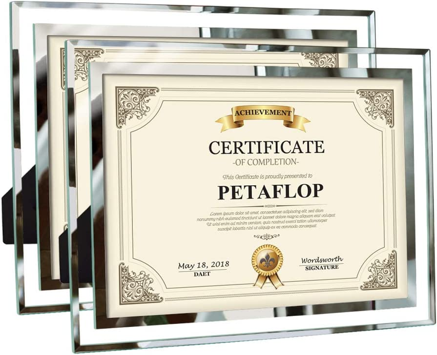 PETAFLOP 8.5x11 Picture Frames Glass 8.5 x 11 Frame Tabletop Display, 2 Pack
