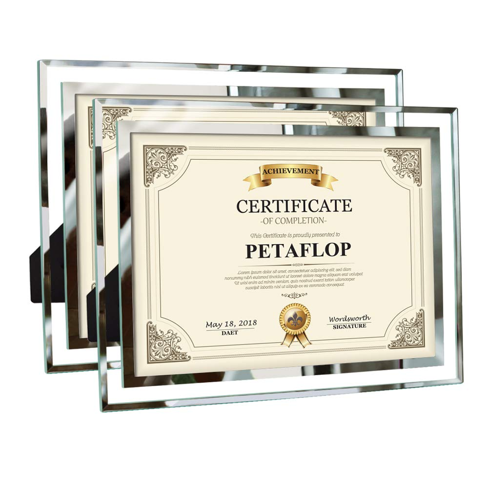 PETAFLOP 8.5x11 Certificate Frames Document Frame High Definition Glass Picture Frames Tabletop Type, 2 Pack