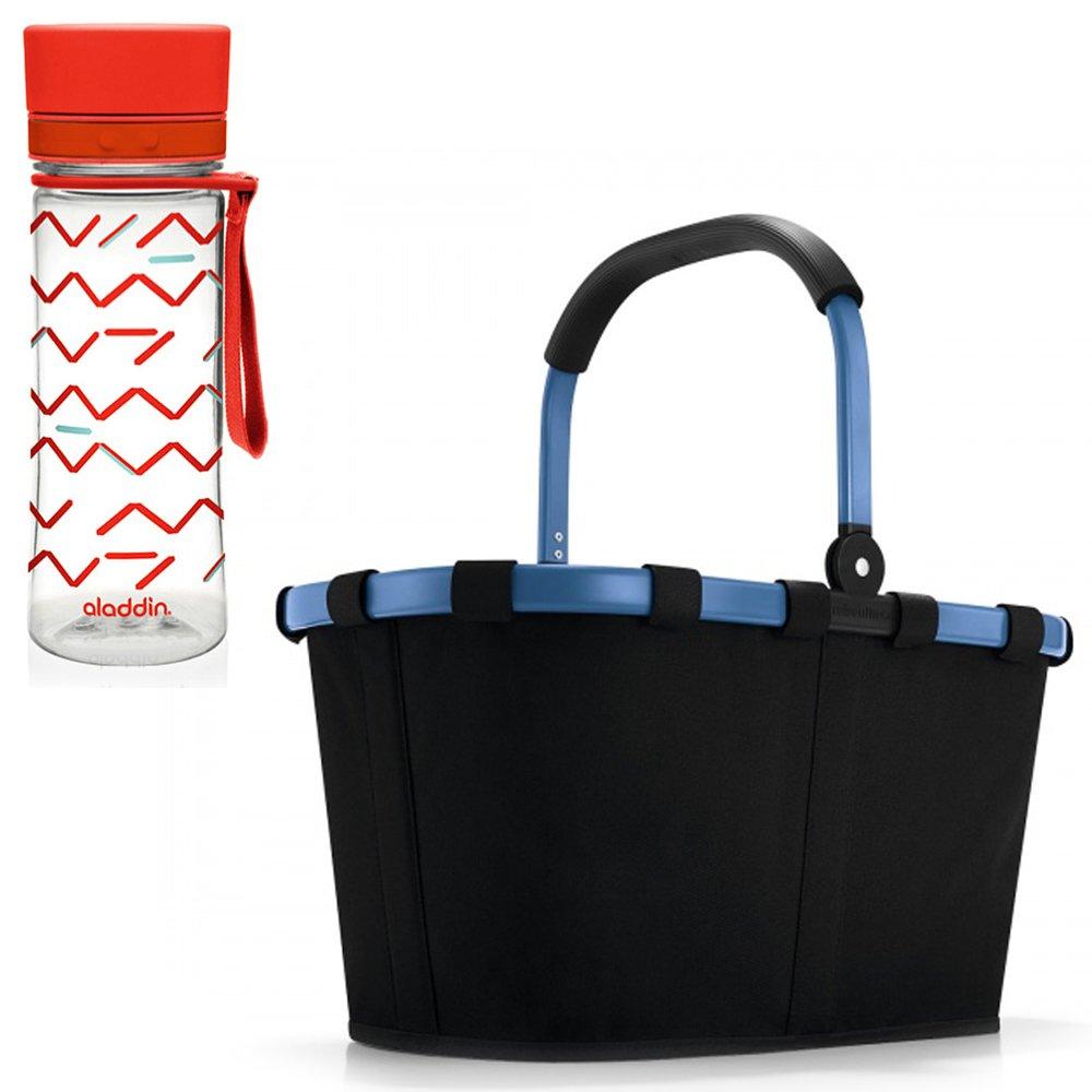 Reisenthel carrybag Blue Frame Plus Aladdin Trinkflasche in der Farbe rot Flasche Wasserflasche Einkaufskorb Einkaufstasche Korb