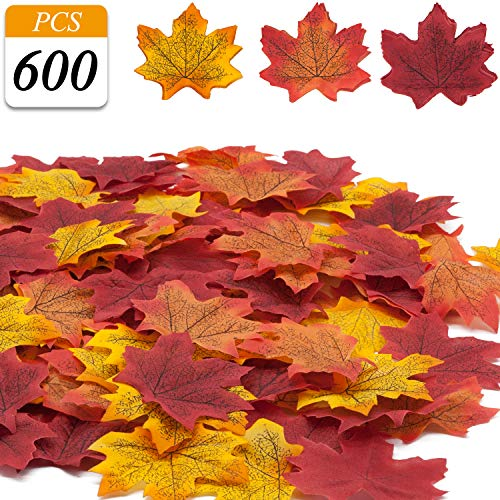 VONDERSO Artificial Maple Leaves, Autumn Fall Leaves Bulk Assorted Multi Color Mixed Garland for Thanksgiving Baby Shower Birthday Wedding House Decorations (ML-600ps-Gradient Yellow)]()