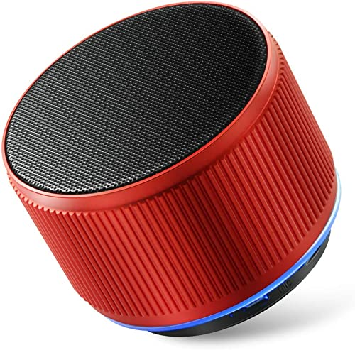 Alfway Mini Small Portable Wireless Bluetooth Speaker with LED Light and Built-in Mic, Supports AUX Audio Input and TF Card Playing Red