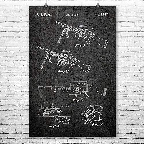 M249 Saw Machine Gun Poster Print, 50 Cal, Military Gift, Gun Club, Modern Warfare, US Army Soldier, Navy Marines Dark Concrete (16