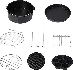 Podoy Air Fryer Bakeware Accessories Set compatible with Ninja, Philip fit 4.8QT - 6.3QT Air Fryer include Skewer Rack, Bread Rack, Silicone Mat, Cake Barrel, Pizza Pan, Egg Bites Mold (7 pcs)