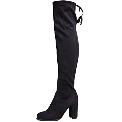 SheSole Women's Over The Knee Thigh High Heel Black Boots Size ...