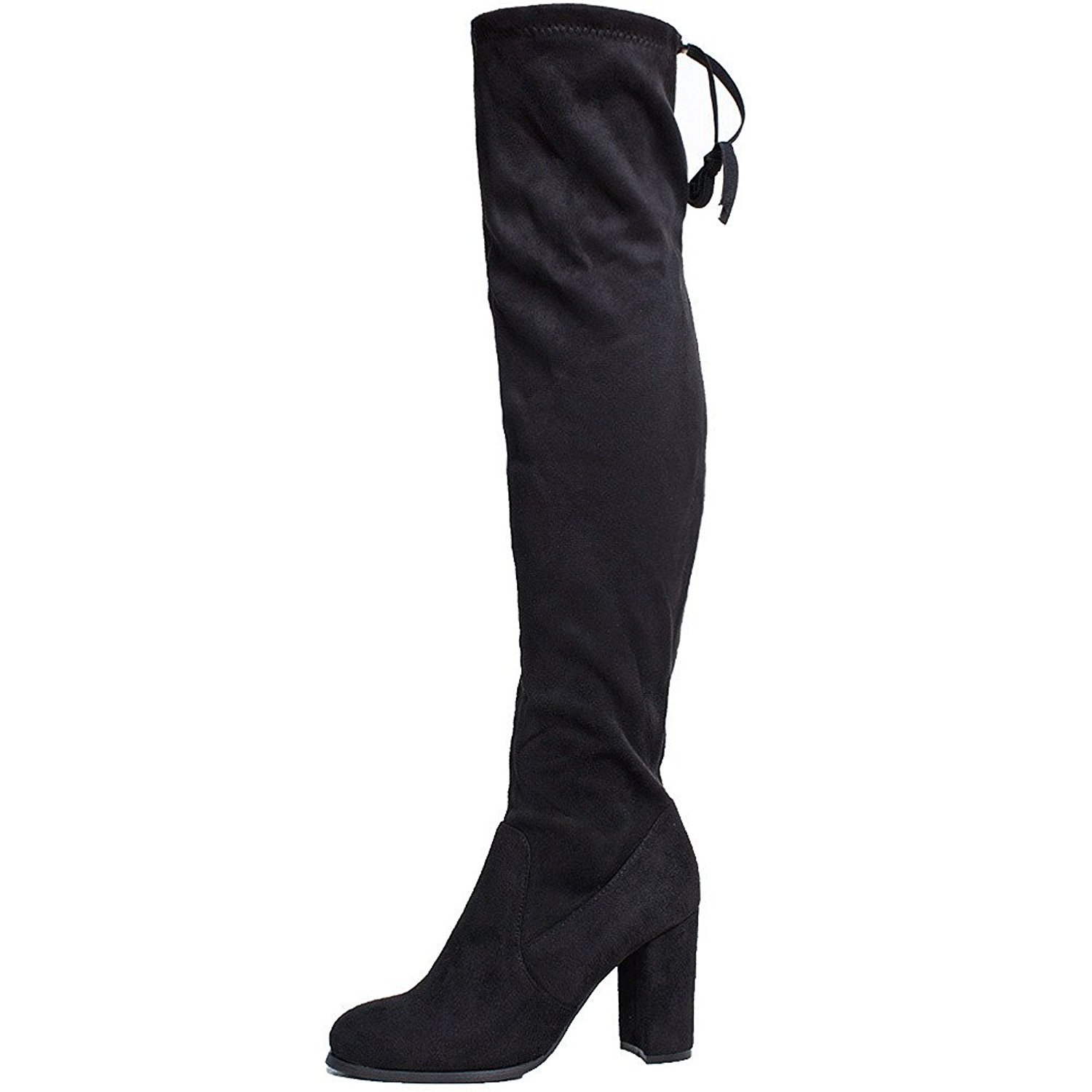 SheSole Women's Over Knee Thigh High Heel Black Boots Size US 9