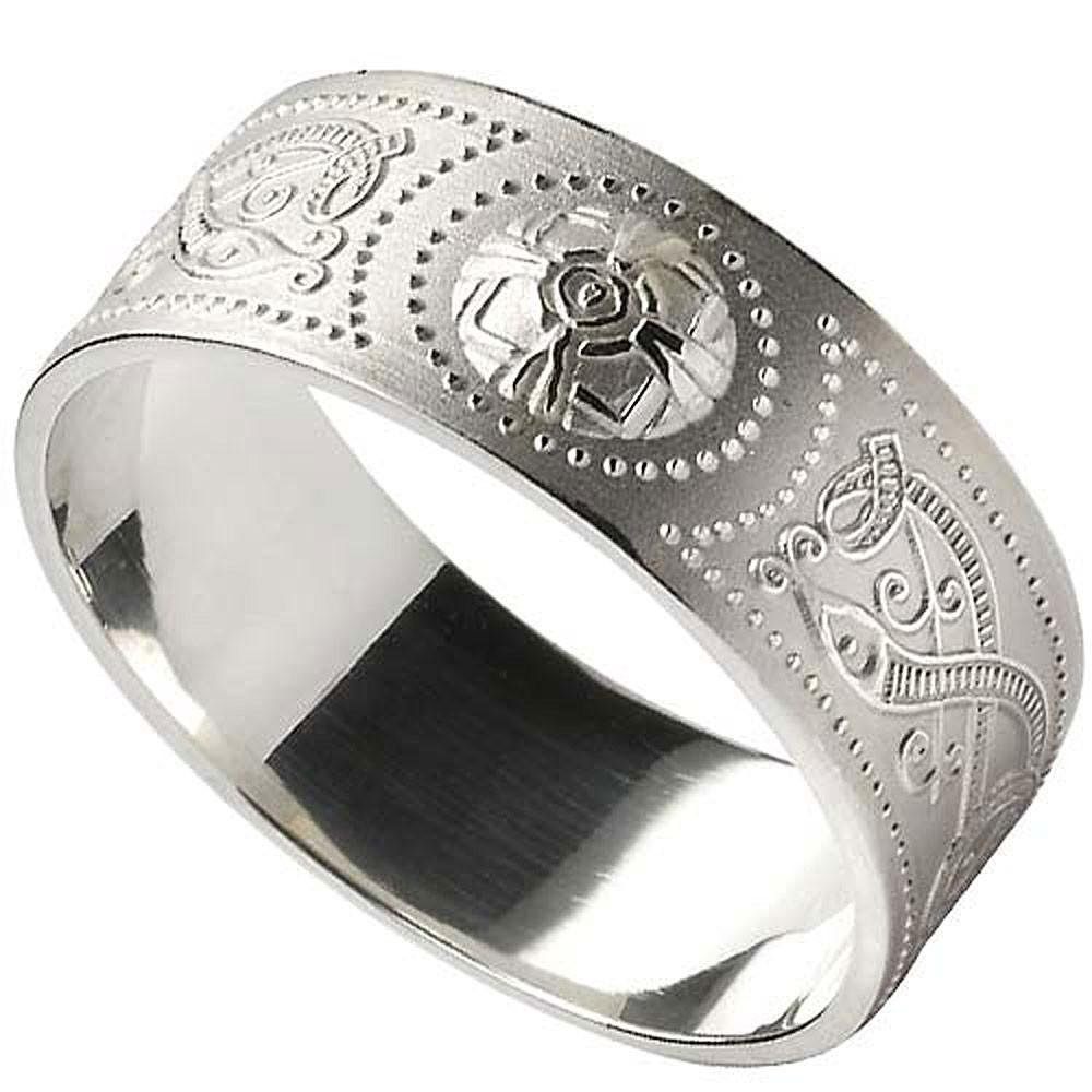 Men's Celtic Warrior Shield Wide Sterling Silver Wedding Band by Boru (Image #1)