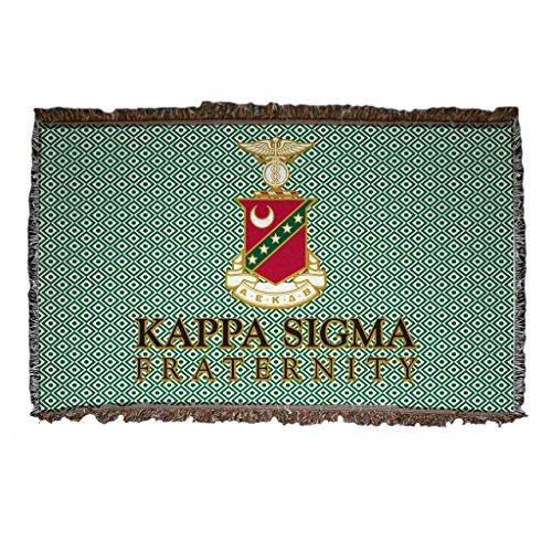 Greek Afghan Throw Blanket - VictoryStore Blanket - Kappa Sigma Woven Blanket, Green Design
