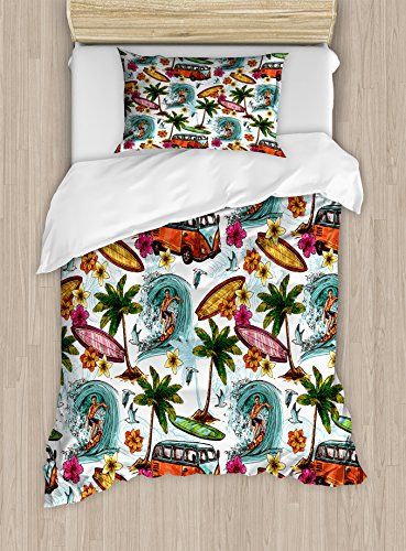 Ambesonne Ocean Duvet Cover Set Twin Size, Hawaiian Surfer on Wavy Deep Sea Retro Style Palm Trees Flowers Surf Boards Print, Decorative 2 Piece Bedding Set with 1 Pillow Sham, Teal White