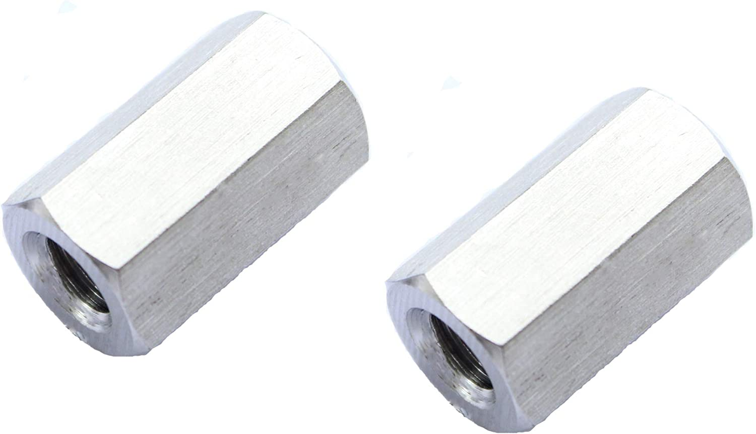2Pcs uxcell M10 X 1.5-Pitch 30mm Length 304 Stainless Steel Metric Hex Coupling Nut