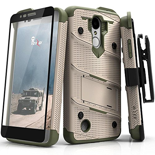 ZIZO Bolt Series LG Aristo Case Military Grade Drop Tested with Tempered Glass Screen Protector Holster LG Fortune TAN CAMO Green