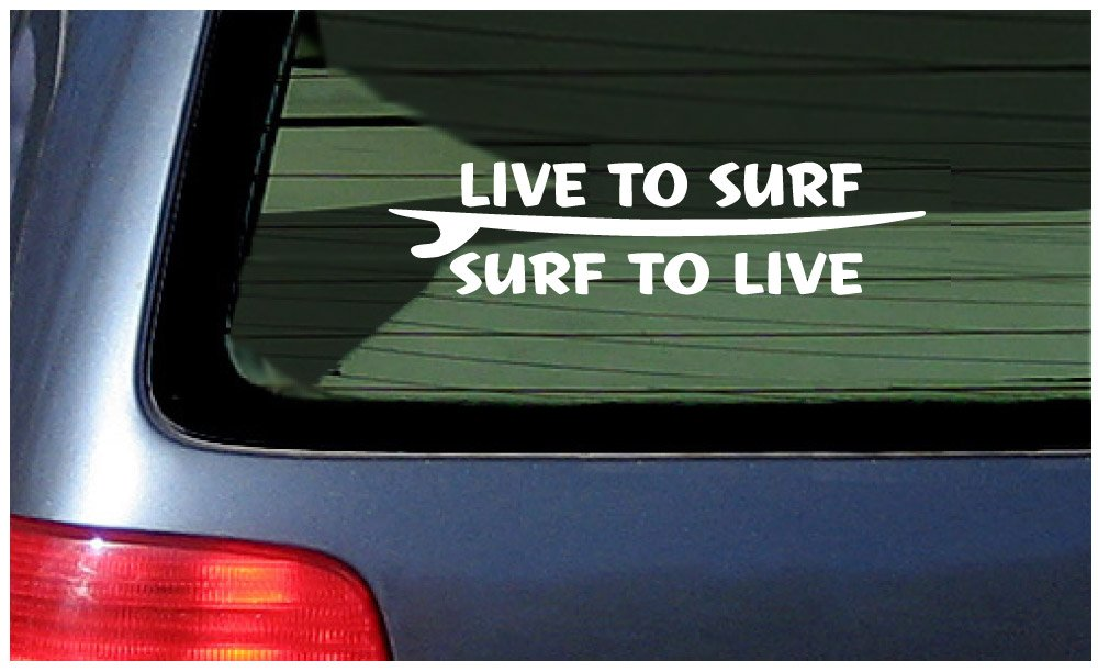 Amazon com live to surf white decal vinyl sticker for surfing fans automotive