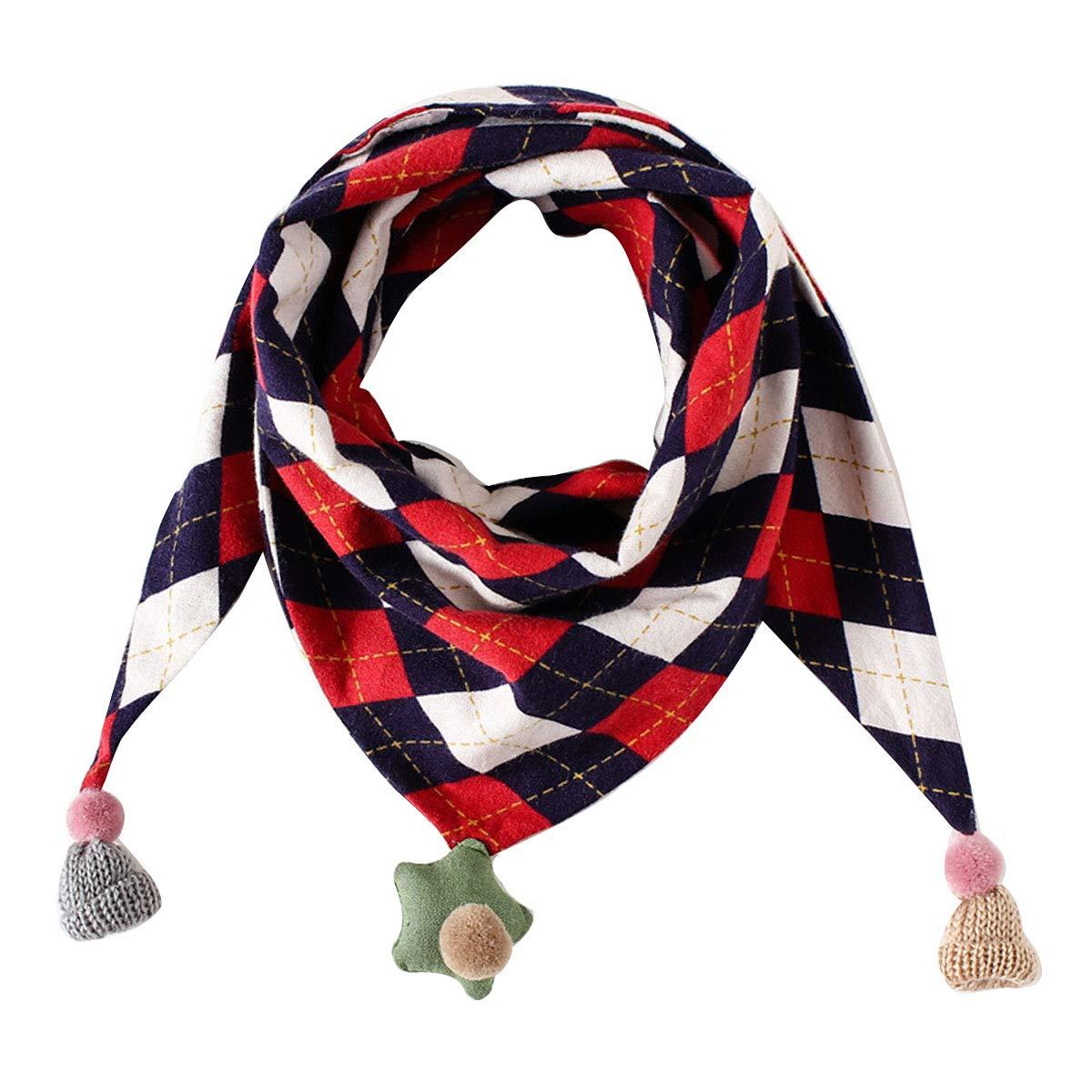 Monique Babies Kids Plaid Pattern Cotton Scarf Autumn Winter Warm Tassel Triangle Towel