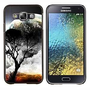 TECHCASE---Cubierta de la caja de protección para la piel dura ** Samsung Galaxy E5 E500 ** --Luna Árbol Planeta Mundo extranjero Naturaleza