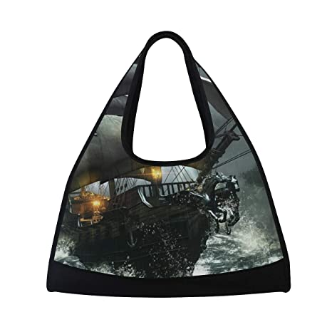 f8a8c1ae4d99 Image Unavailable. Image not available for. Color  HUVATT Gym Bag Pirate  Ship Women Yoga Canvas Duffel Bag Sports Tote Bags for Girls