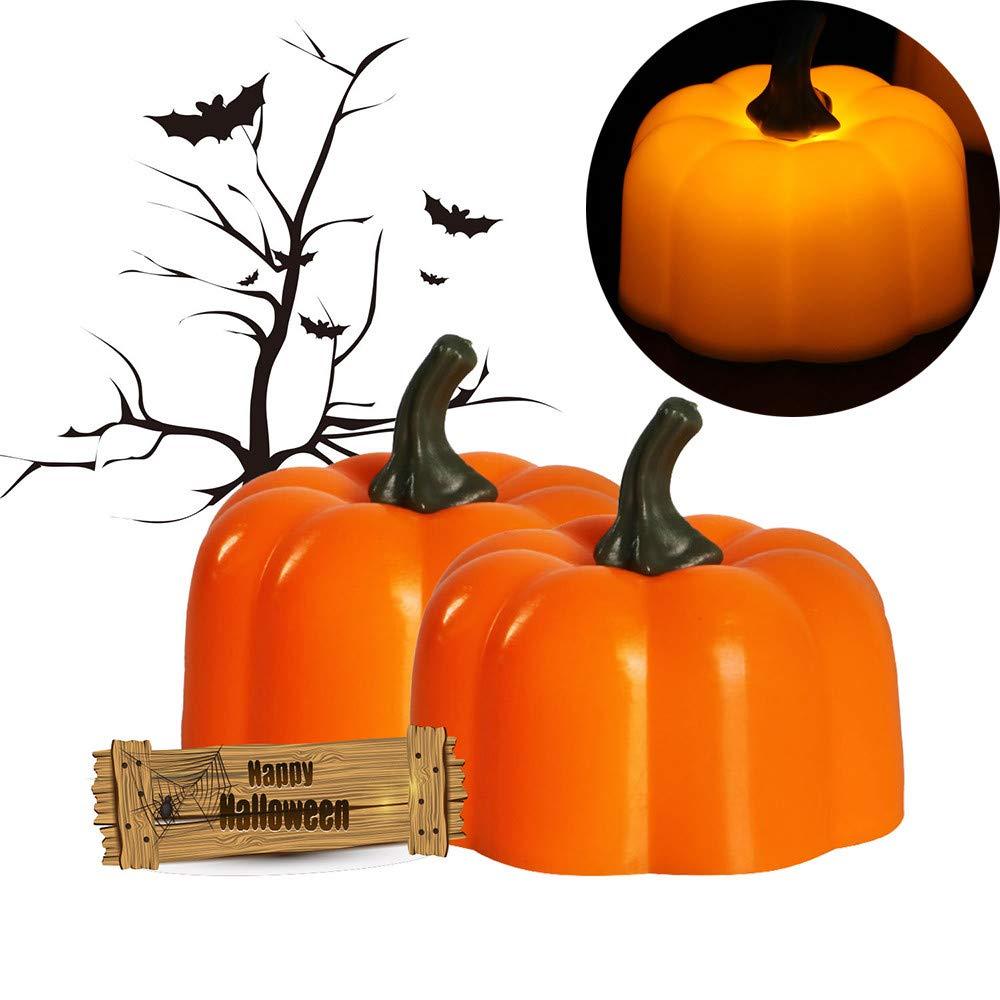 Glumes Halloween Light Pumpkin Candles, Battery Operated Flickering LED Pumpkin Lamp Candles for Candelabra, Sconces, Chandelier, Menorah, Halloween, Christmas, Home Decor 2 Pcs (Orange)
