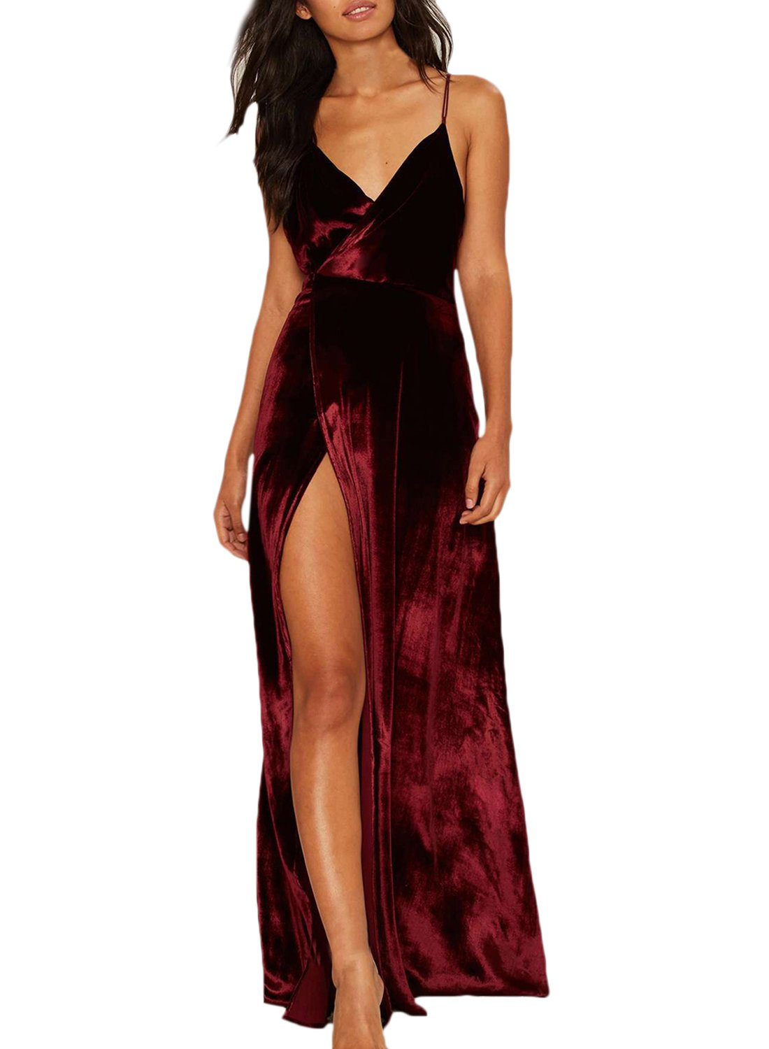 Azbro Womens V Neck Backless Velvet Prom Dress