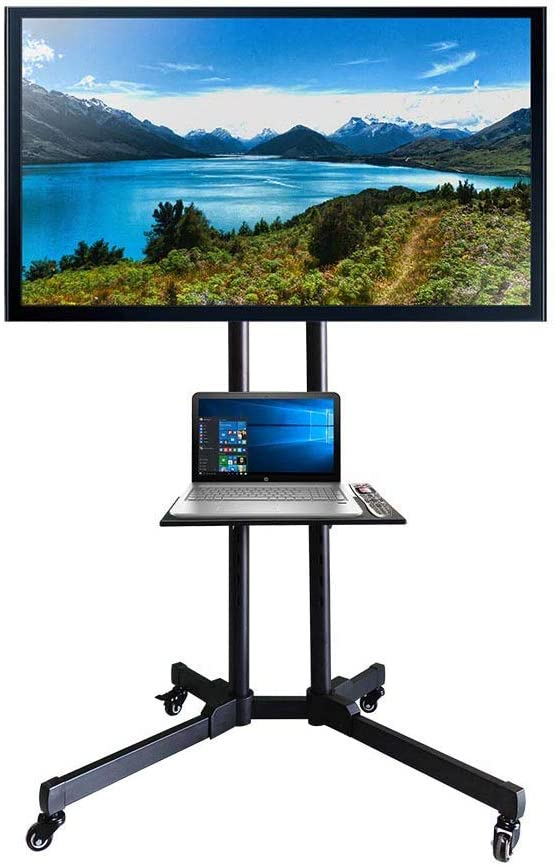 MTB Mobile TV Cart with Lockable Wheels for Most 32-65 Inch Flat Screen TVs with Height Adjustable AV Shelf,Mount Bracket Holds up to 100 lbs,Max VESA 600 x 400mm,Metal,Black