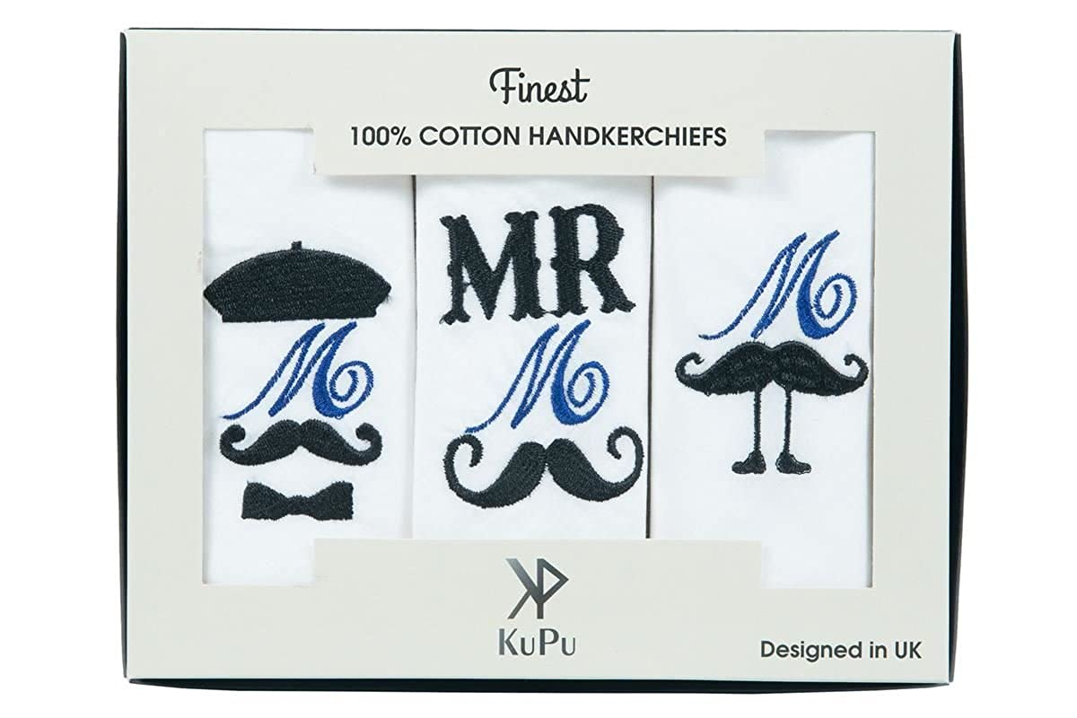 Personalised/initial with mustache embroidered Handkerchief 100% COTTON Giftable Box/Christmas Gift/Wedding Gift KuPu