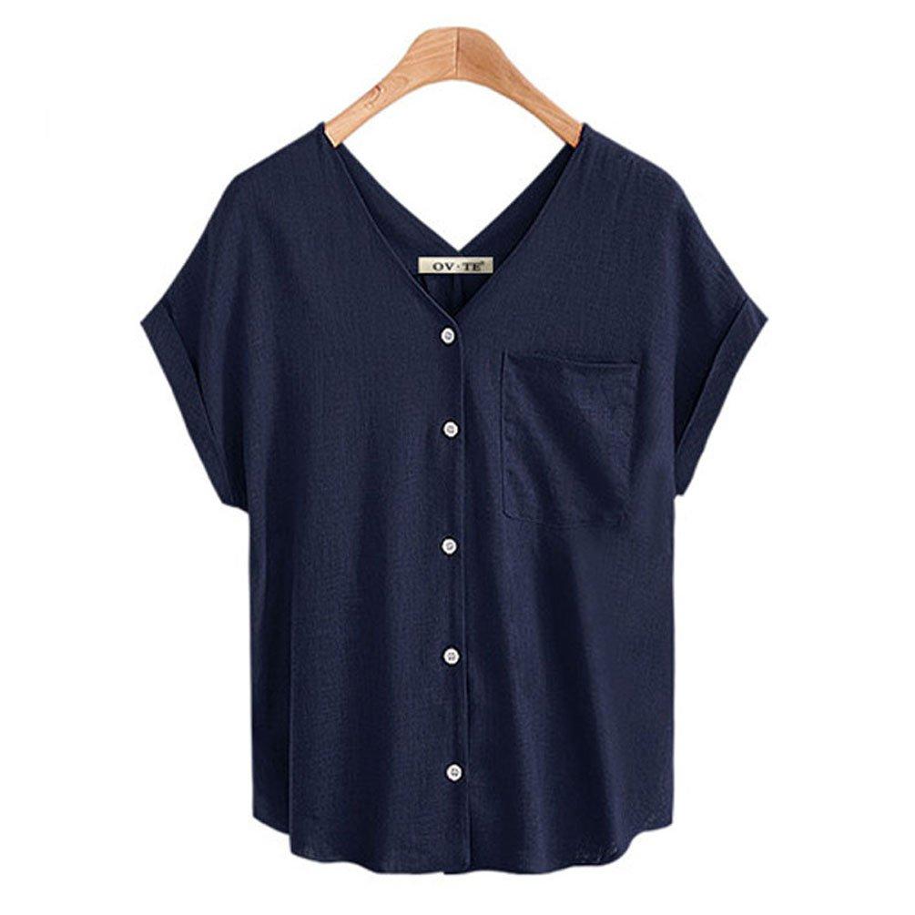 FINCATI Shirts Women Flax Textured Cotton Tops V Neck Buttons Pocket Casual Loose T Shirt Blouse (A-Dark Blue, L)