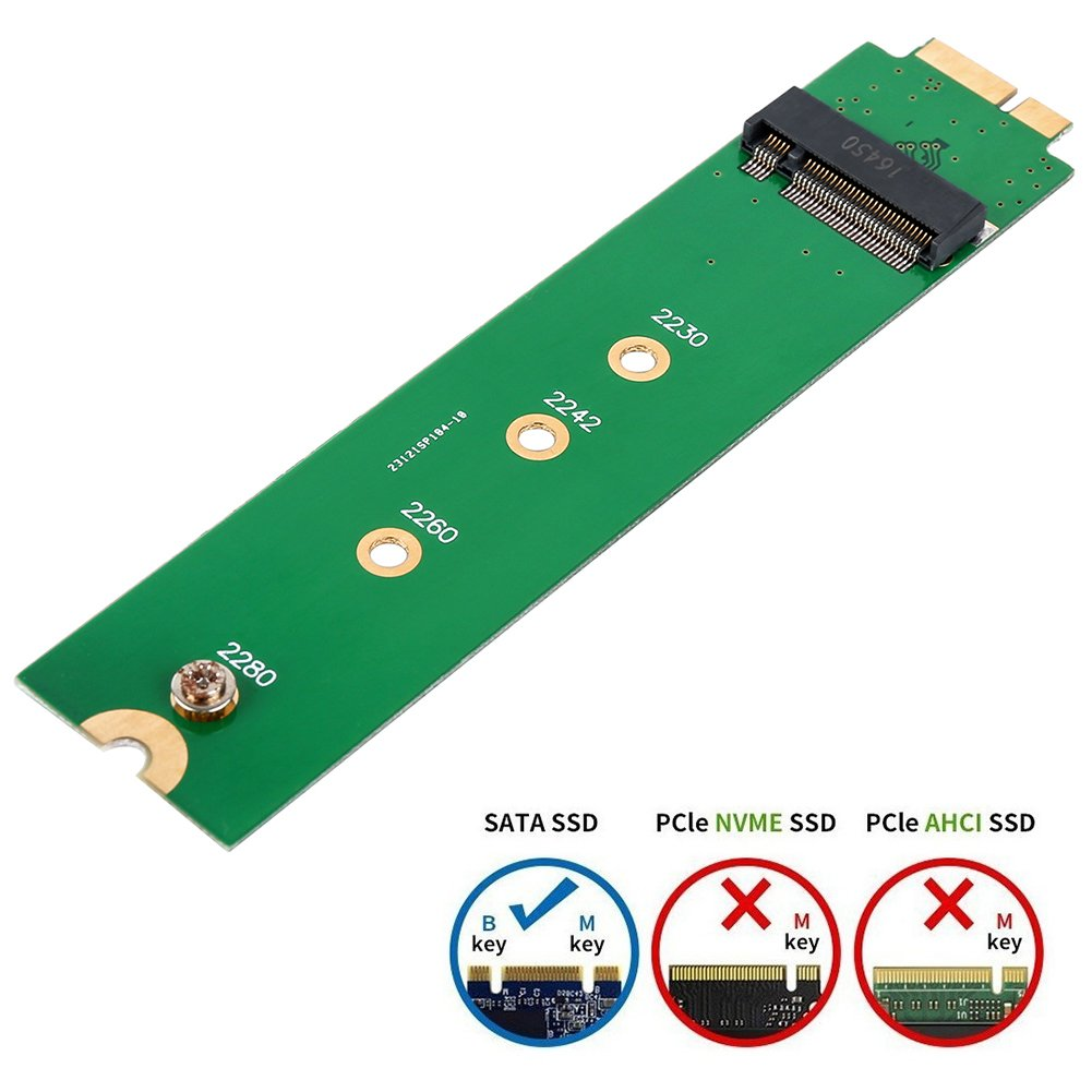 SHINESTAR M.2 NGFF SSD to A1369 A1370 Adapter for 2010 2011 MacBook Air HDD Replacement Converter Card Support 2230 2242 2260 2280 Solid State Drive
