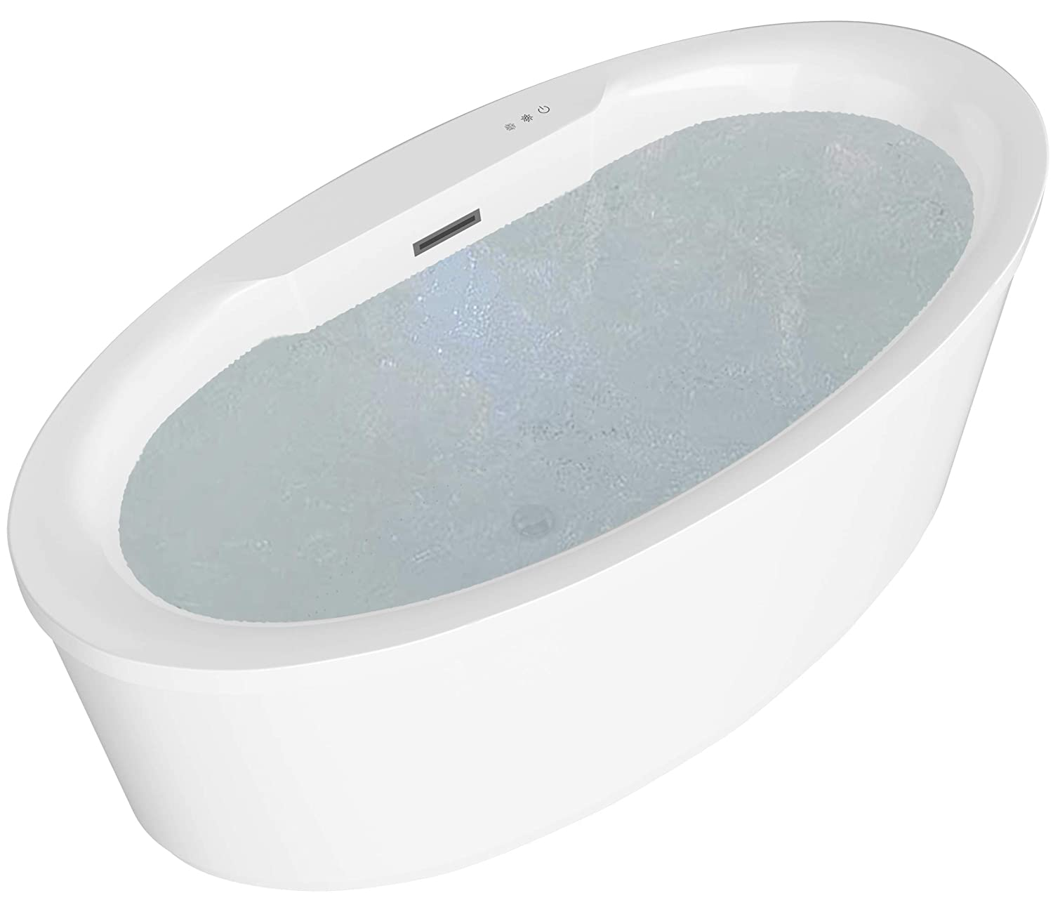 ANZZI Jarvis Whirlpool Air Jetted Acrylic Freestanding Bathtub in White Over 200 Aero-Therapeutic Bubble Massage Jets Socking Tub with Light Up Control Pad and Four Colored Bath Lights FT-AZ077