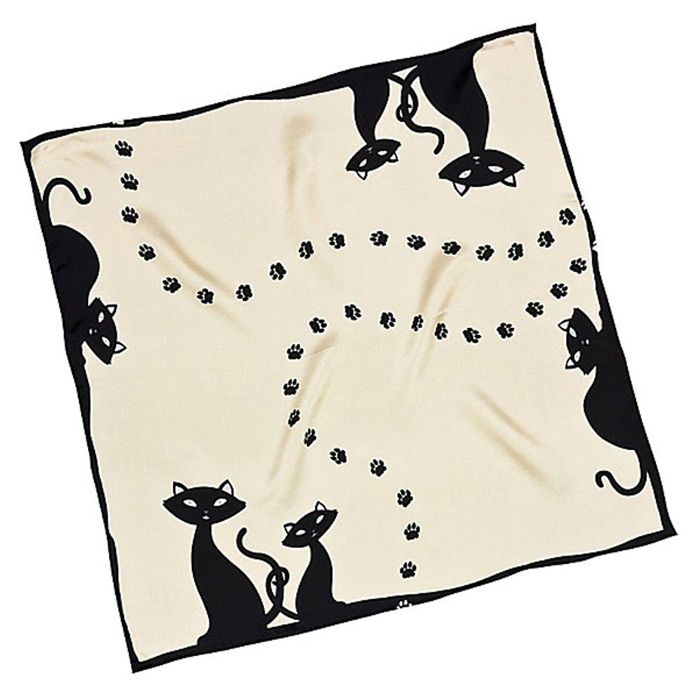 VON LILIENFELD Pañuelo de seda, pequeño Gatos negros