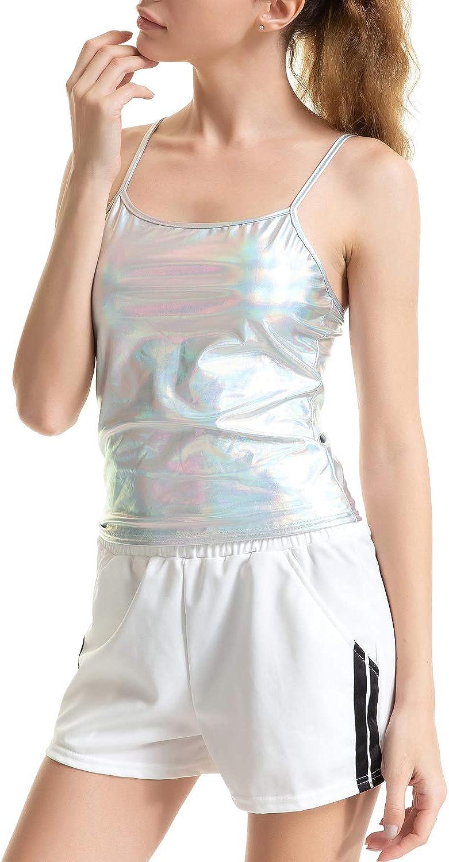 Dazosue Femmes Sangle R/éservoir M/étallique Brillant Clubwear Mince Cami Crop Top