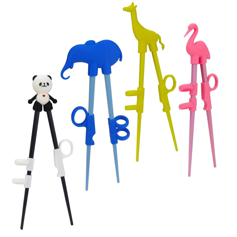 Plum Garden 4 pcs learning chopstick helper, Children's Training Chopsticks, Animals Chopsticks for childrens, adults and beginners