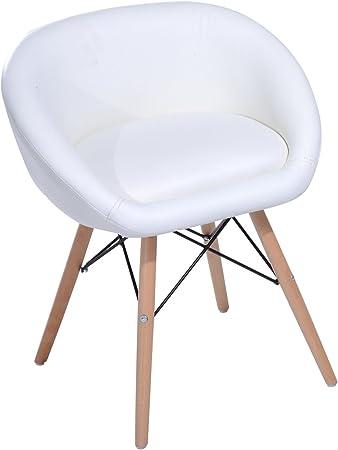 Homcom cm Cuir Blanc 52 Grand 23 xl x 46 scandinave L Chaise Design Confort H64 Simili Aj54R3Lq