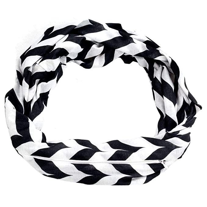 039a9571eaecb Womens Chevron Print Pattern Infinity Scarf Wrap with Zipper Pocket, Black  and White, Best