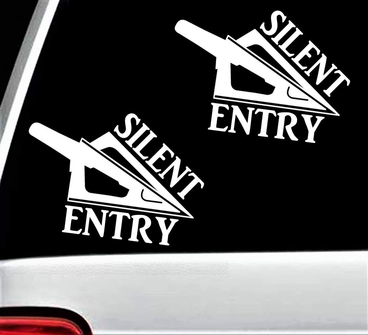 2-Count Silent Entry Decal Sticker for Car Window BG 192