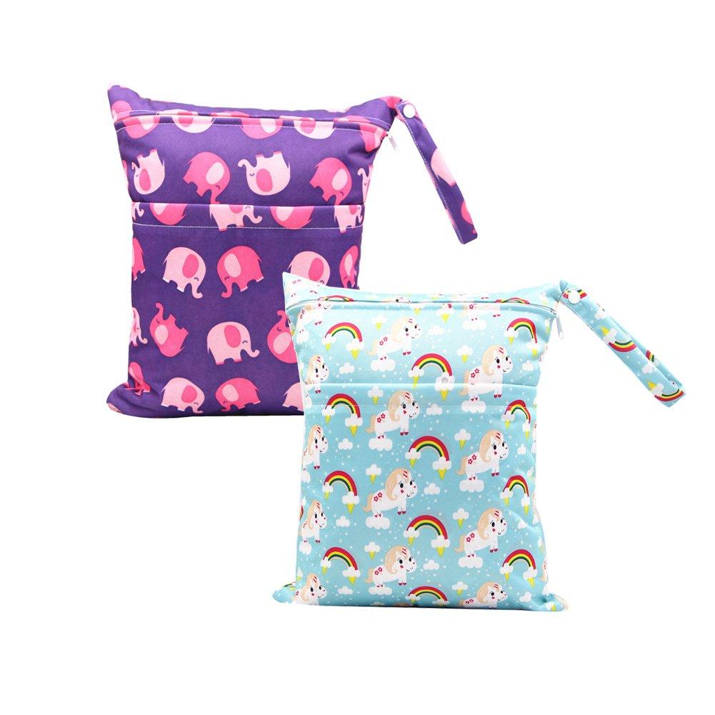 Baby Diaper Nappy Wet Bag BOBORA Infants Waterproof Washable Reusable Baby Burp Nursing Cloths Storage Zipper Bags Pack of 2